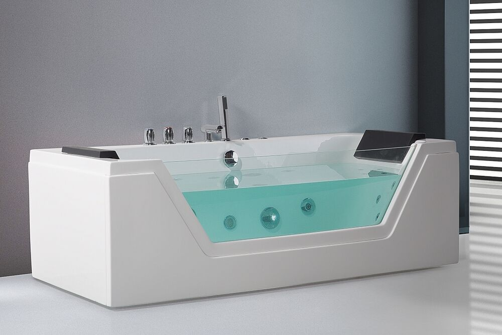 whirlpool badewanne freistehend mit glas led licht wasserfall glasfront f r bad ebay. Black Bedroom Furniture Sets. Home Design Ideas