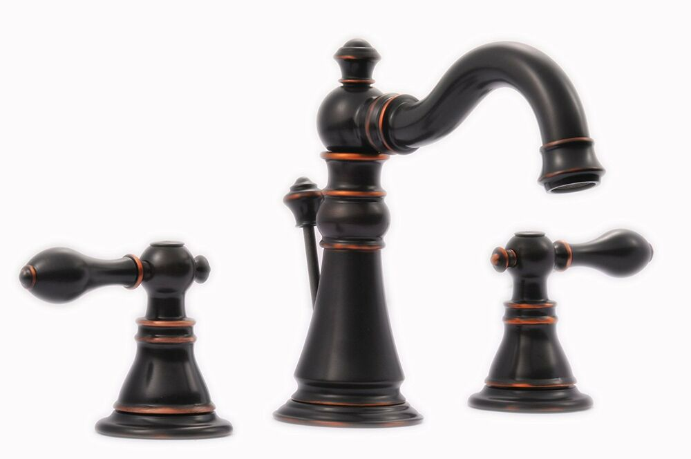 Signature Hardware Victorian Widespread Bathroom Faucet: Oil Rubbed Bronze Victorian Style Widespread Bathroom Sink