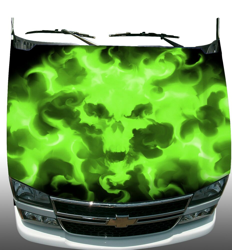Lime Green Skull Flame Fire Hood Wrap Wraps Sticker Vinyl