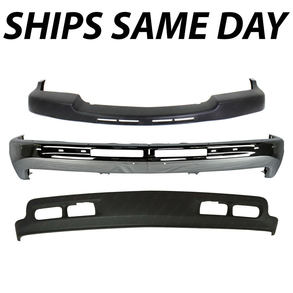 new steel chrome front bumper kit for 1999 2002 chevy silverado 2500hd 3500 ebay