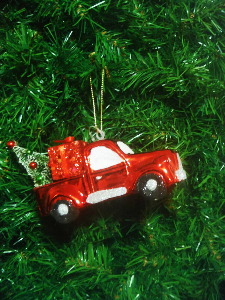 RED VINTAGE PICK UP TRUCK CHRISTMAS ORNAMENT HAULING TREE ...