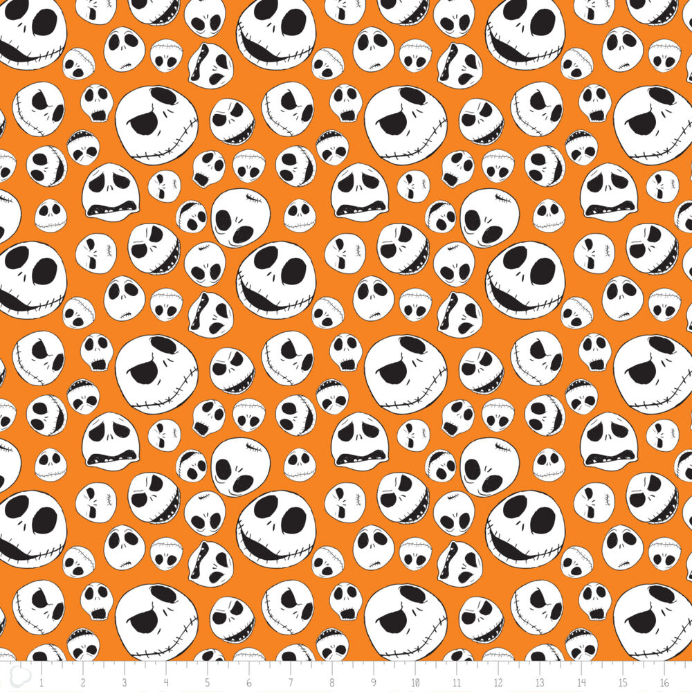 Disney Nightmare Before Christmas Jack Faces Orange Cotton fabric by ...