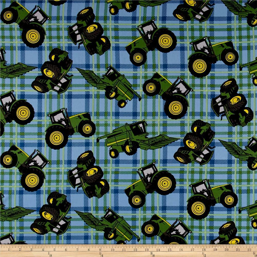 john deere tractor on plaid blue 100 cotton 43 fabric by the yard ebay. Black Bedroom Furniture Sets. Home Design Ideas