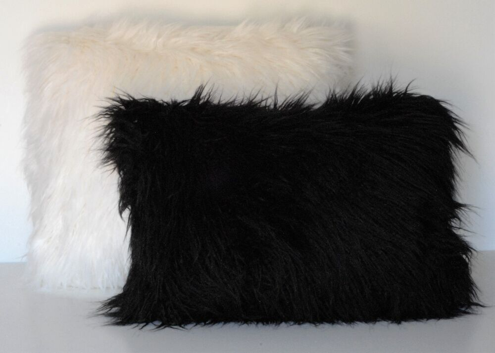 mongolian faux fur sheepskin throw pillow black white gray blanket for sofa eBay