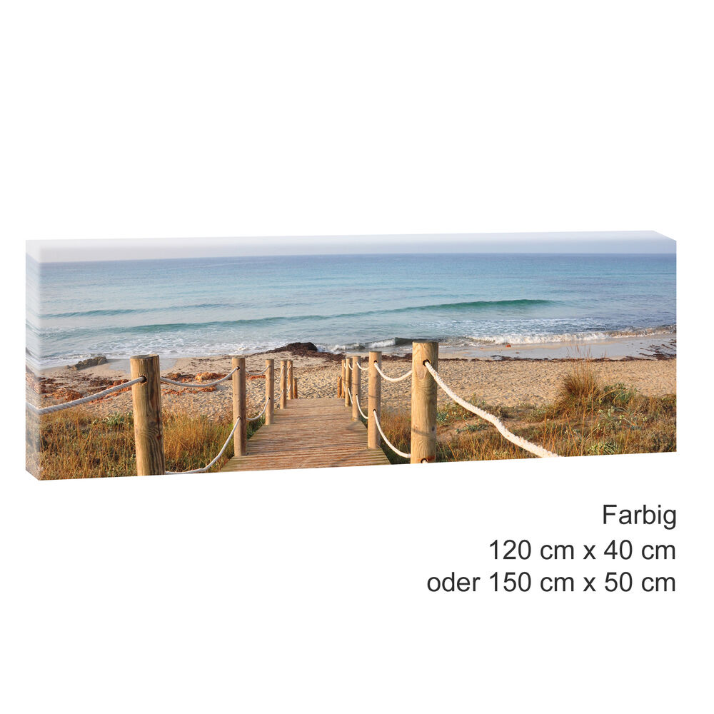steg zum strand bild leinwand poster strand meer d nen 120 cm 40 cm 471 a ebay. Black Bedroom Furniture Sets. Home Design Ideas