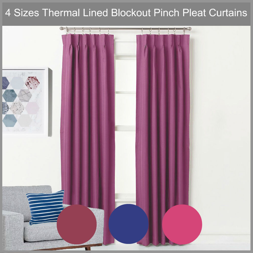 Pinch Pleat Blockout Curtain Pair Thermal Lined Blackout