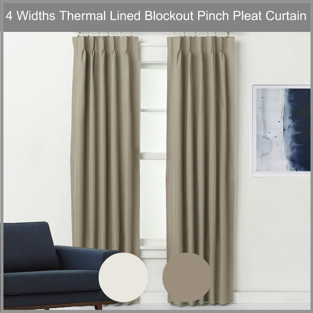pinch pleat blockout curtain pair thermal lined blackout. Black Bedroom Furniture Sets. Home Design Ideas