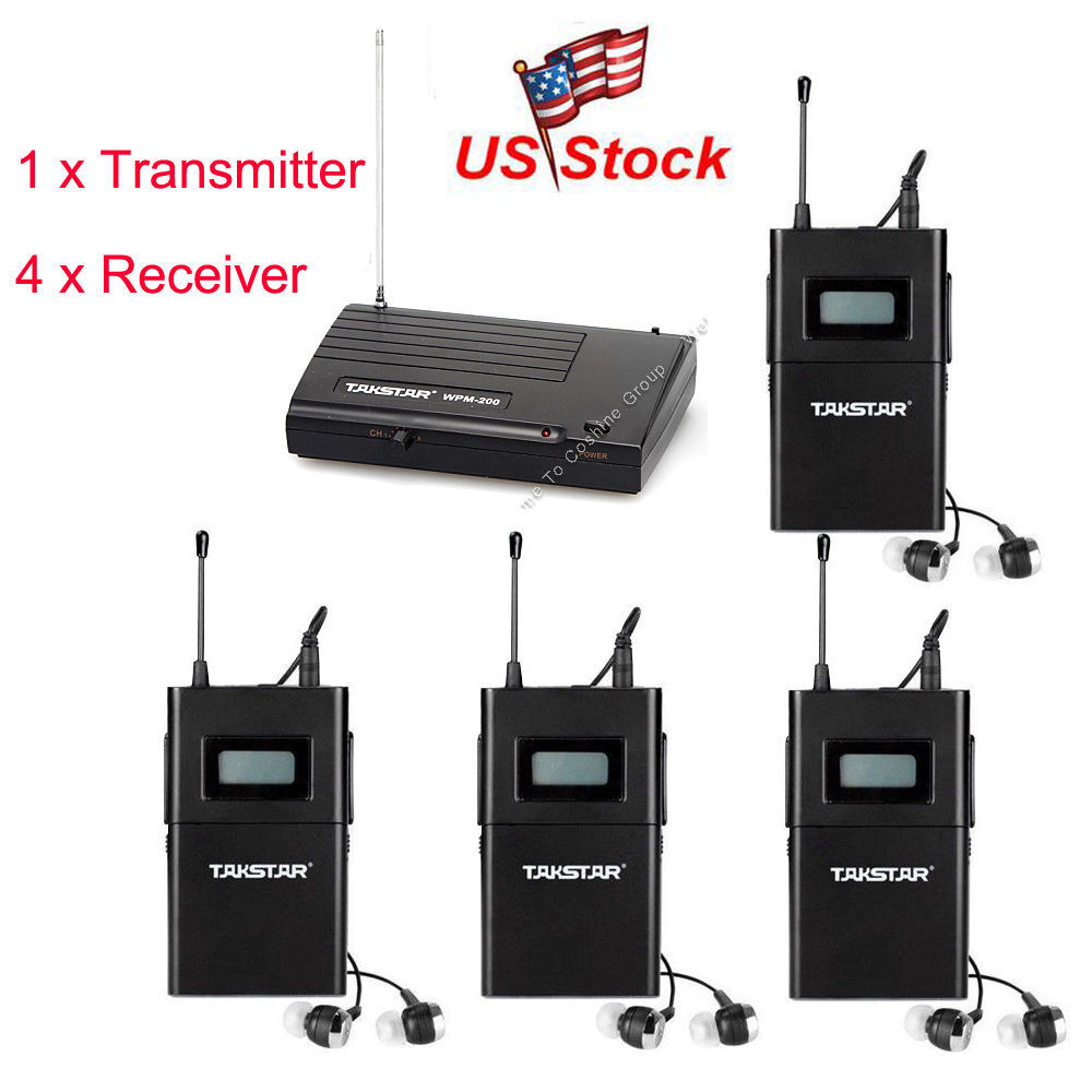 wpm 200 in ear professional stage wireless monitor system transmitter 4 receiver ebay. Black Bedroom Furniture Sets. Home Design Ideas