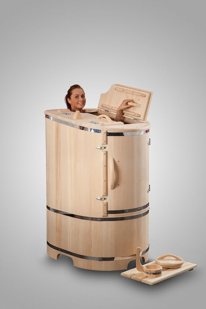 mini steam sauna cedar barrel body rejuvenation home spa. Black Bedroom Furniture Sets. Home Design Ideas
