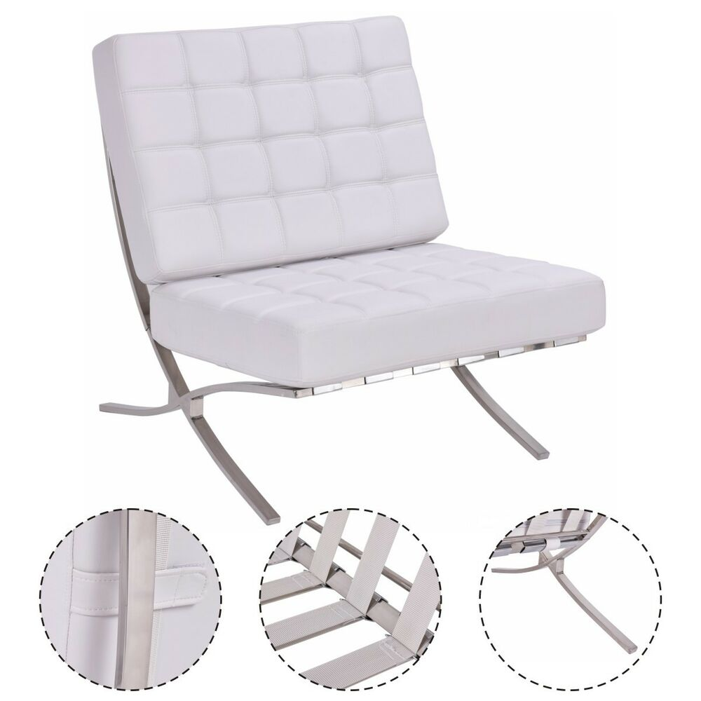 white leather chaise lounge chair pu leather pavilion chair barcelona style steel frame 21986 | s l1000