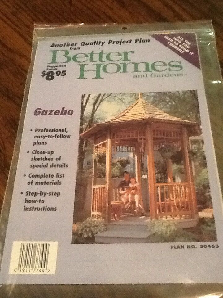 New sealed project plans to make a gazebo better homes and gardens ebay Better homes and gardens gazebo