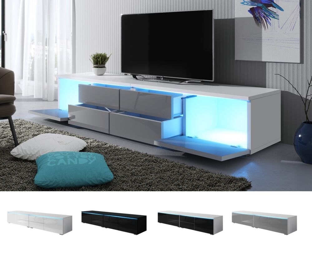 tv schrank lowboard sideboard tisch m bel board luv double mit led beleuchtung ebay. Black Bedroom Furniture Sets. Home Design Ideas
