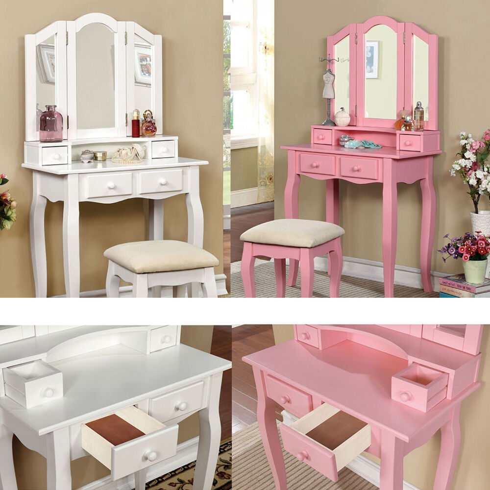 2 Pc White Pink Tri Mirror Double Decker 4 Drawers Wood