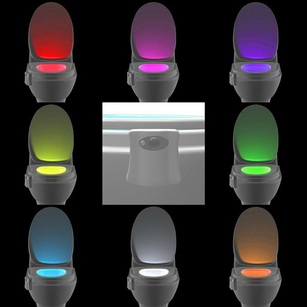 led licht motion activated seat wc toilette sensor nachtlicht badezimmer lampe ebay. Black Bedroom Furniture Sets. Home Design Ideas