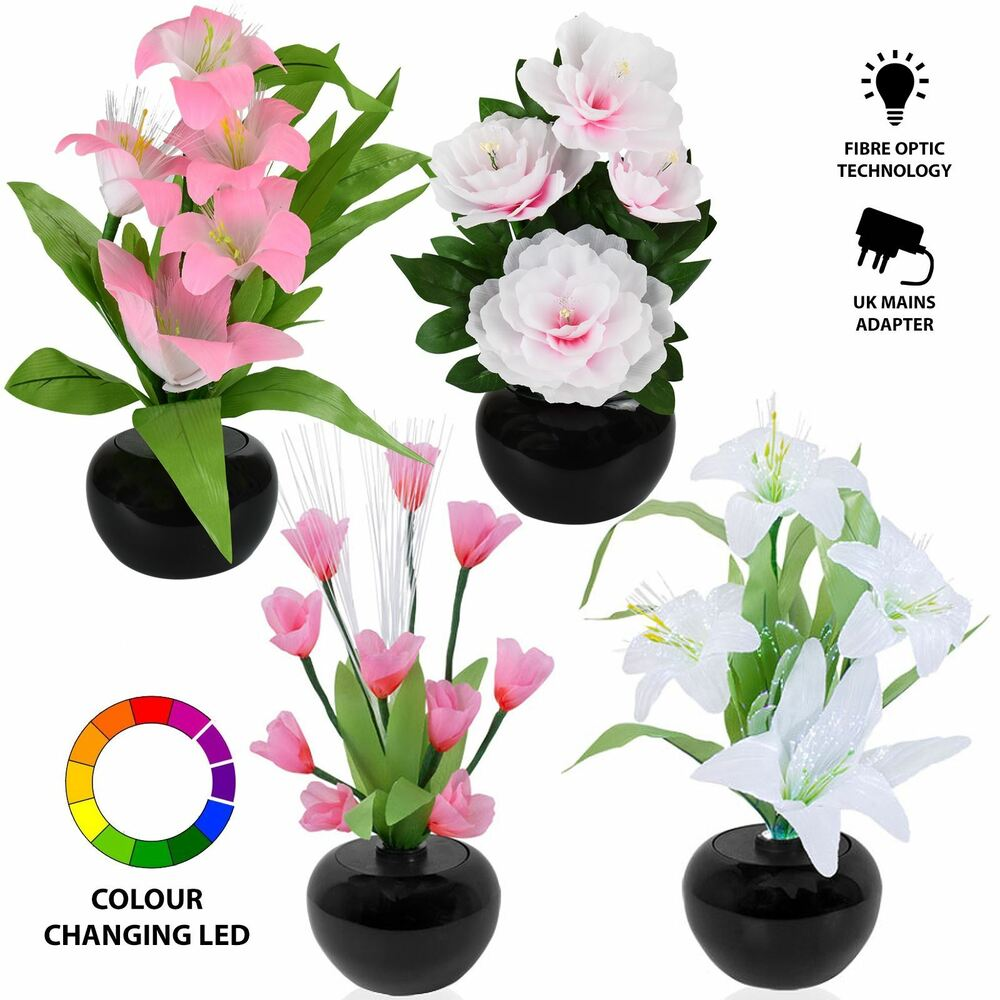 Rgb Colour Changing Led Fibre Optic Flower Vase Display