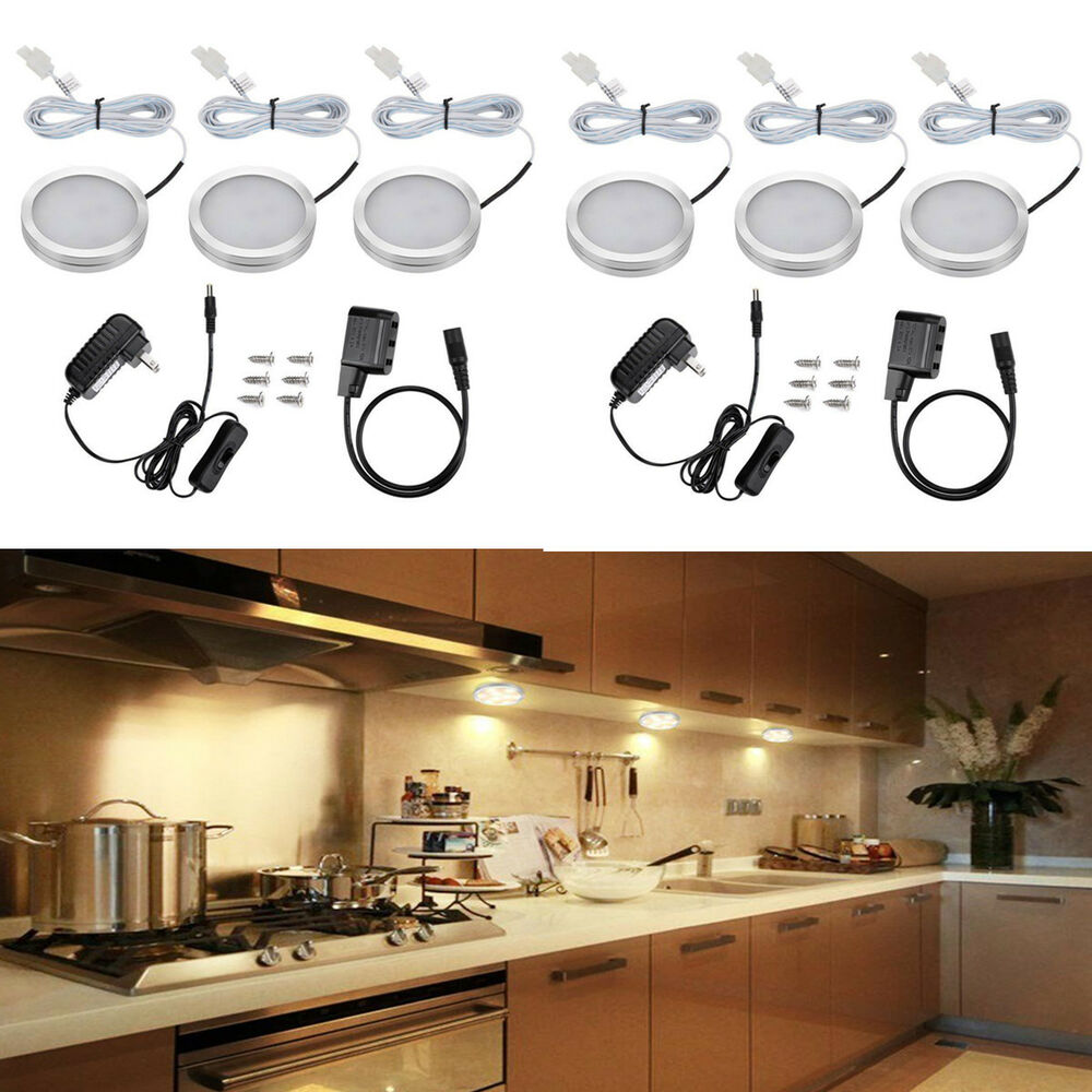 kitchen puck lights 6pcs kitchen counter cabinet warm white led light 2470