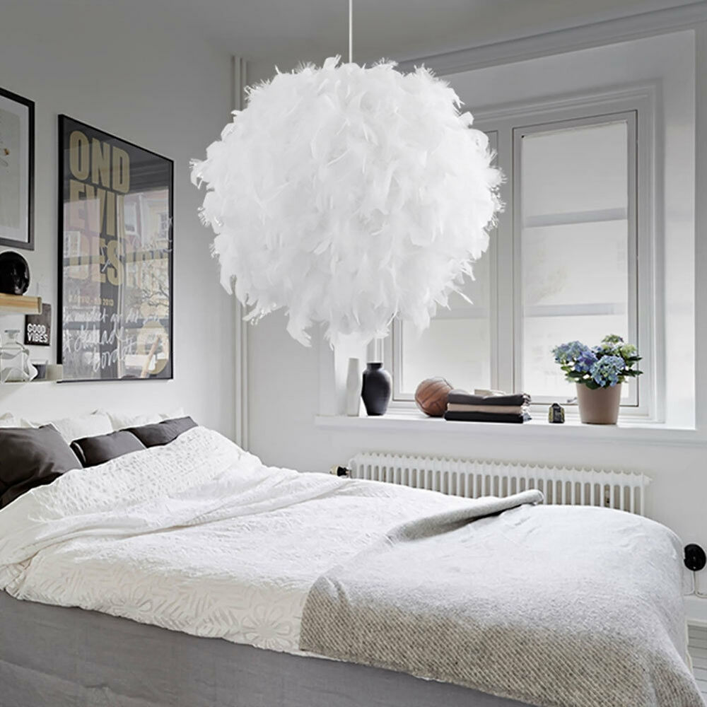White Ceiling Lamps: Contemporary White Feather Elegant Ceiling Light Pendant
