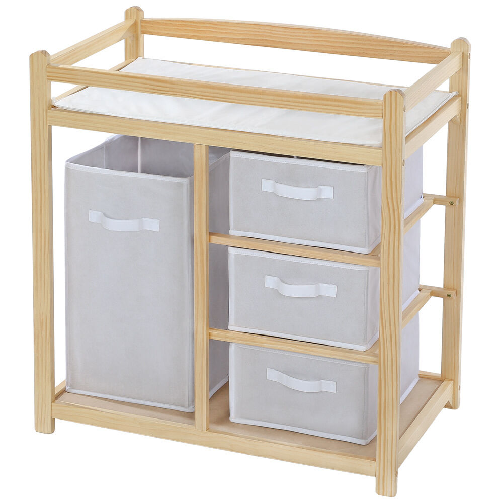 baby toddler changing table unit station storage drawers pad mat wood ebay