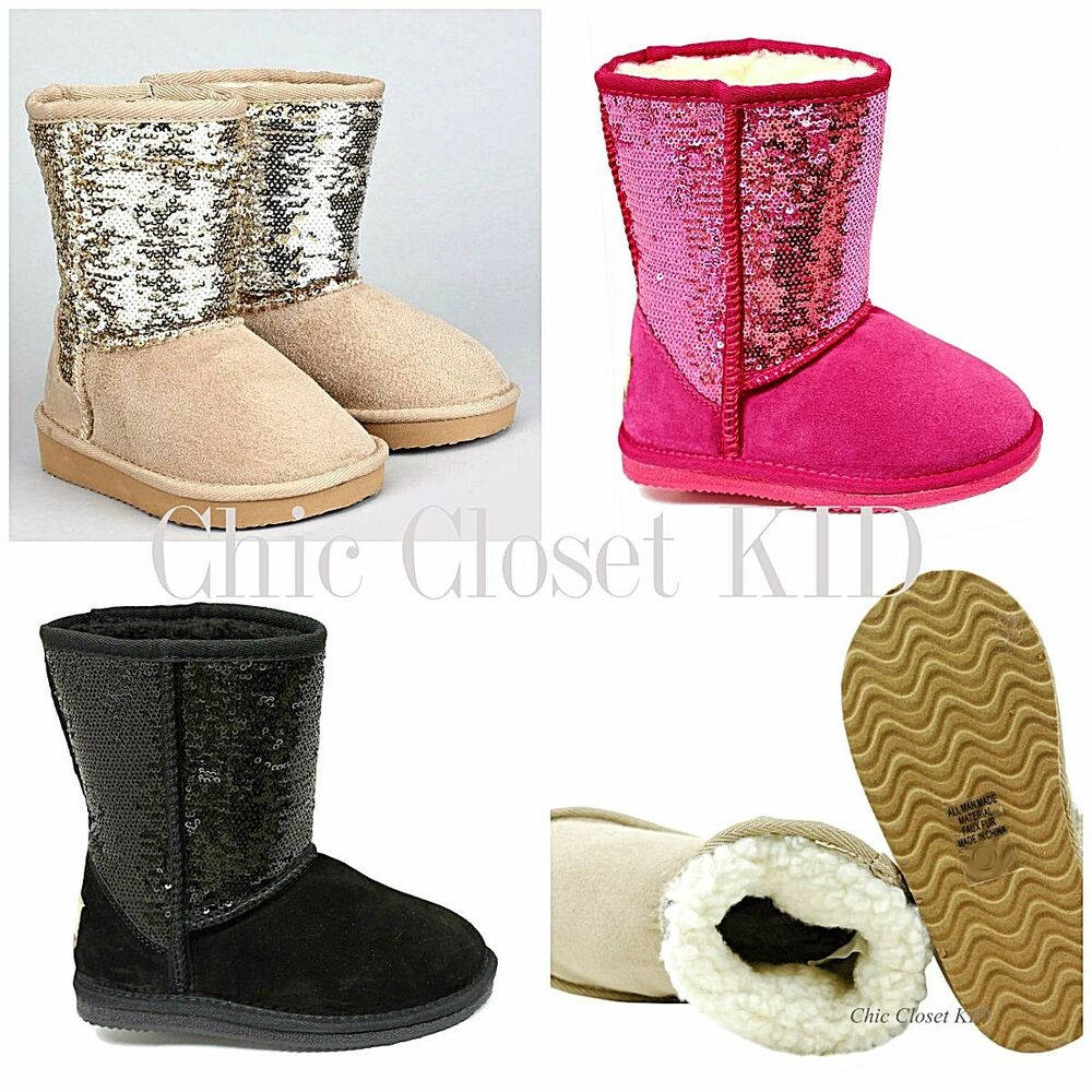 Little JR Youth Girls Ankle Sequin Glitter Sparkling Boots