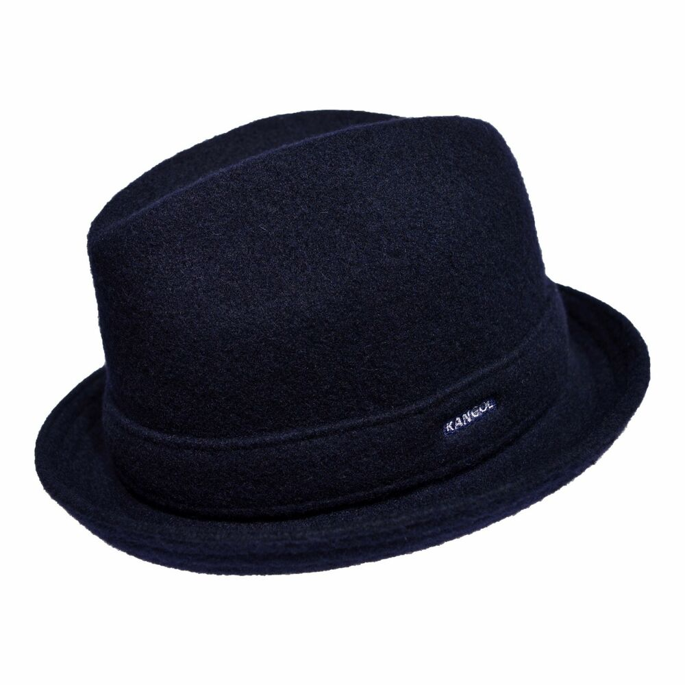 Details about Kangol Wool Player Men s Wool Blend Center Dent Fedora Hat  Dark Blue 7cb7c7bc16a