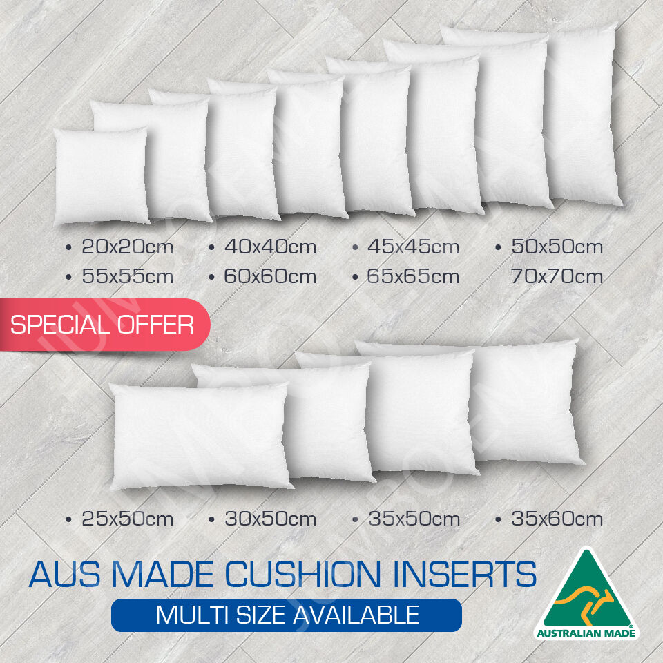 Throw Pillow Insert Sizes : Aust Made Cushion Insert Polyester Premium Lofty Fibre(Multi Sizes Available) eBay