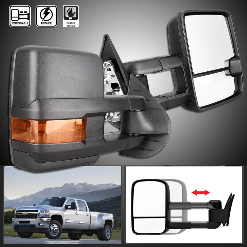 new 2pcs folding manual towing telescoping mirrors for chevy silverado gmc 07 13 ebay. Black Bedroom Furniture Sets. Home Design Ideas