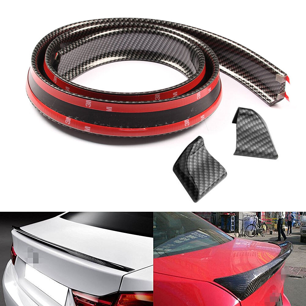 Details about new universal carbon fiber rear wing lip spoiler for car roof trunk sticker tirm