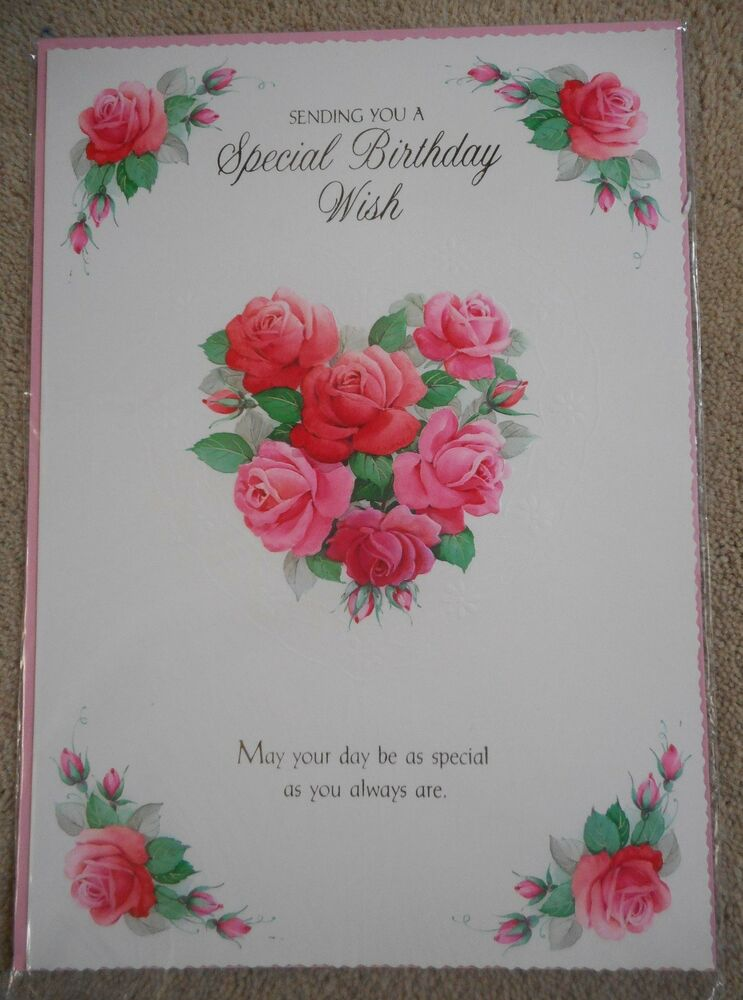 Sending You A Special Birthday Wish Rose Heart Design A4 Happy