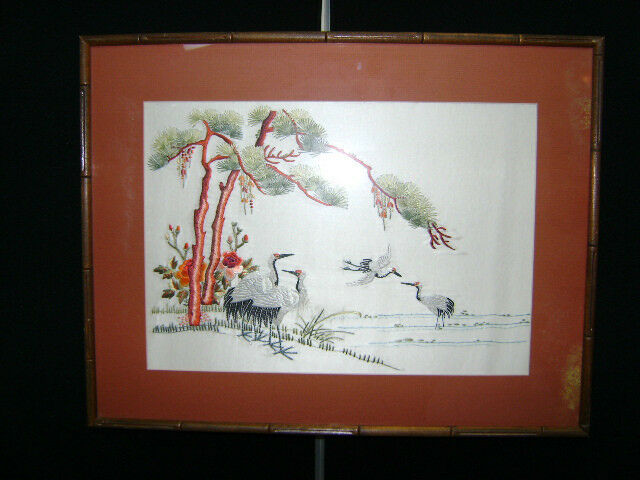Vintage Asian Silk Embroidered Art Bird Crane Flowers