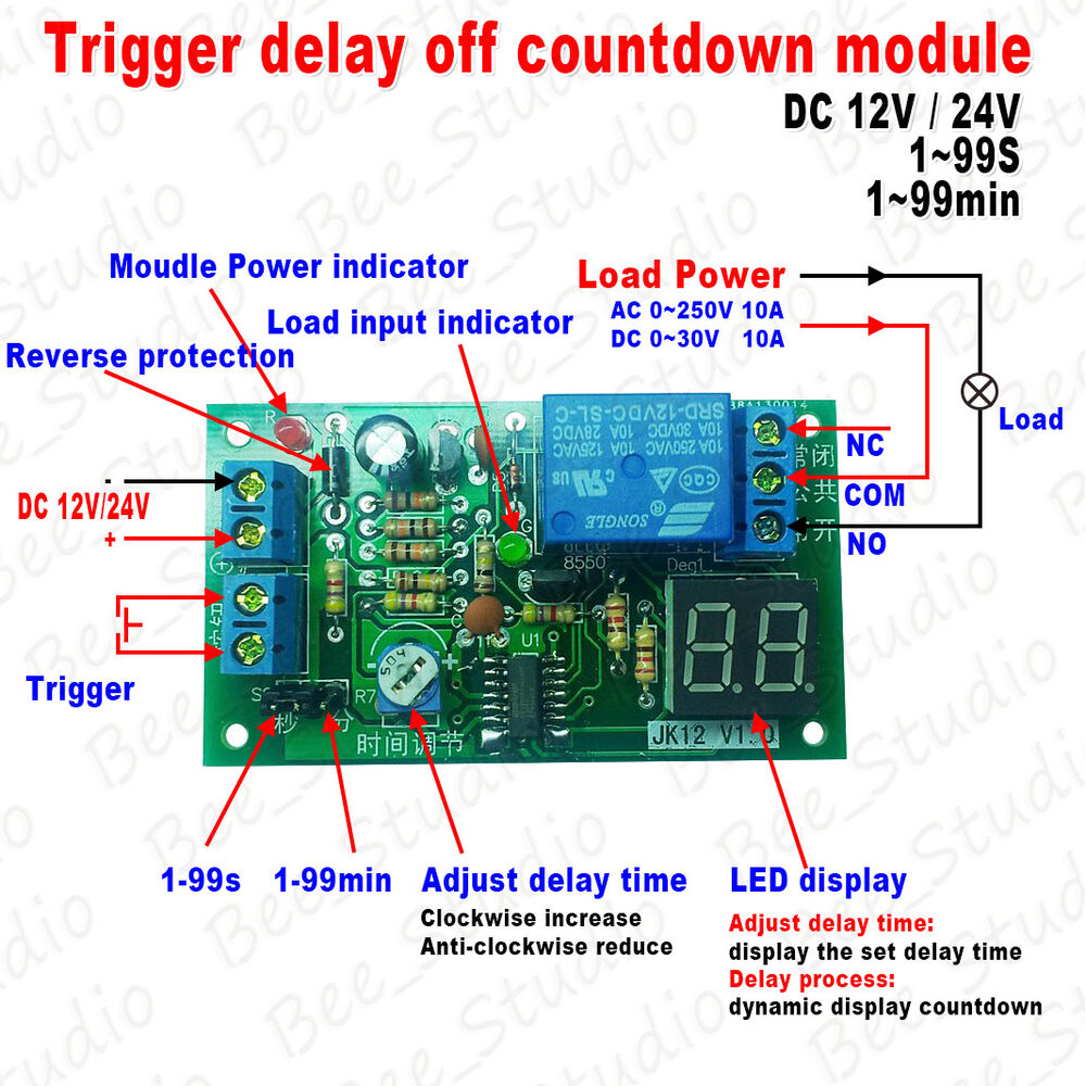 Dc 12v 24v Trigger Delay Off Countdown Led Display Timing Timer Digital Count Down Circuit Using Pic Microcontroller Relay Module Ebay