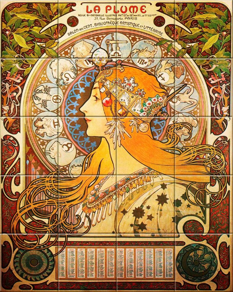Ceramic tile mural art nouveau each tile alphonse for Art nouveau tile mural
