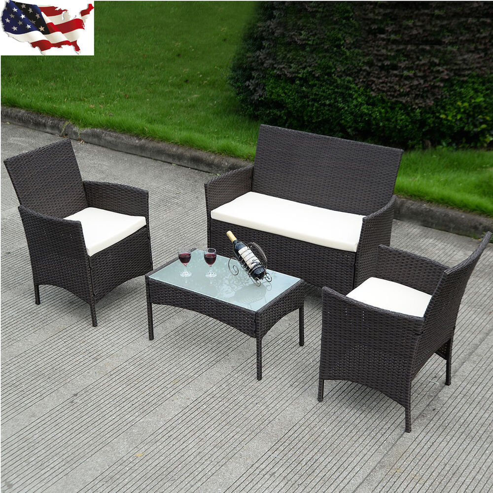 Us Patio Rattan Wicker Cushioned Sofa Chair Table Outdoor