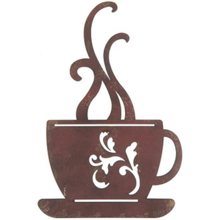 Red Metal Coffee Cup Wall Decor Kitchen Restaurant