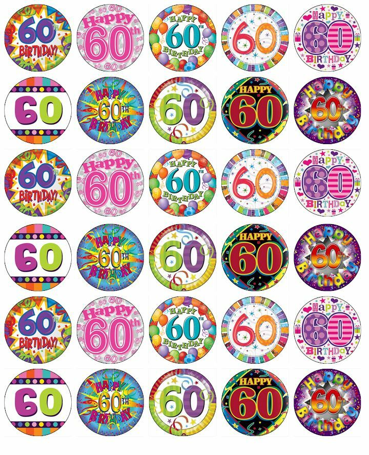 Details About 30 X 60th Birthday Edible Cupcake Toppers Wafer Paper Fairy Cake Topper