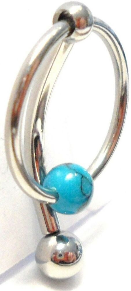 Turquoise Stone Hoop Dangle Barbell Bar VCH Clit Clitoral Hood ...