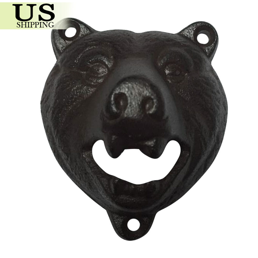 Cast Iron Wall Mount Grizzly Bear Beer Soda Bottle Opener