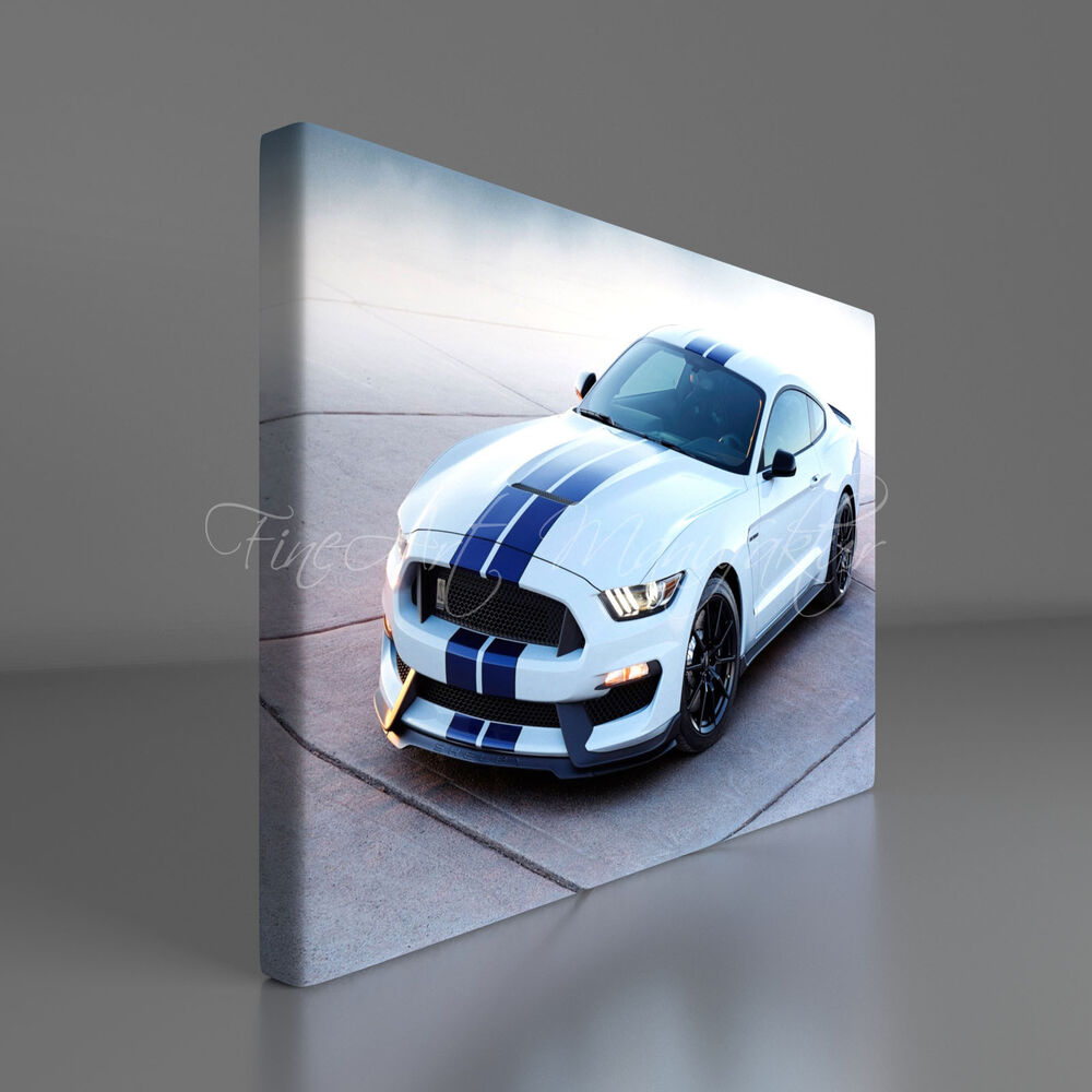 leinwand bild auf keilrahmen 1031 ford mustang shelby auto fineart print ebay. Black Bedroom Furniture Sets. Home Design Ideas