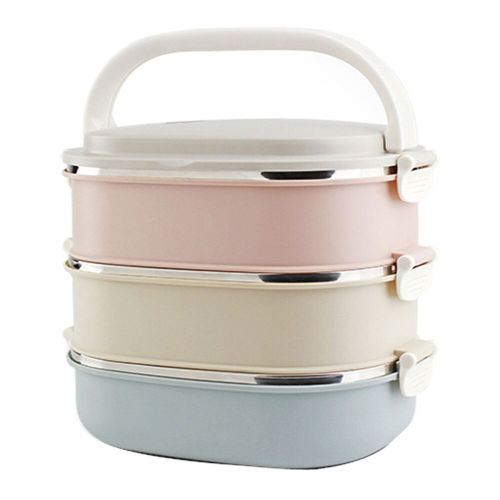 3 tier stainless steel insulated bento lunch box thermal metal food containers ebay. Black Bedroom Furniture Sets. Home Design Ideas