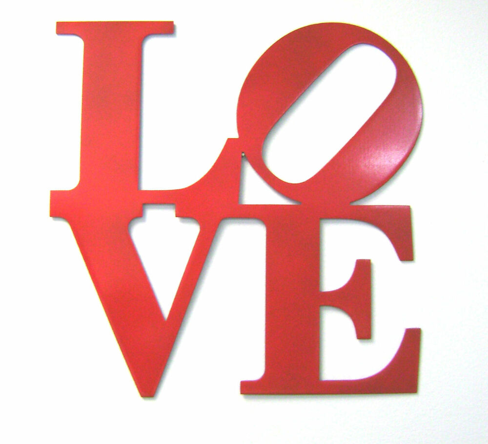 12 red metal love sign wall decor philly love park sign for Love sign