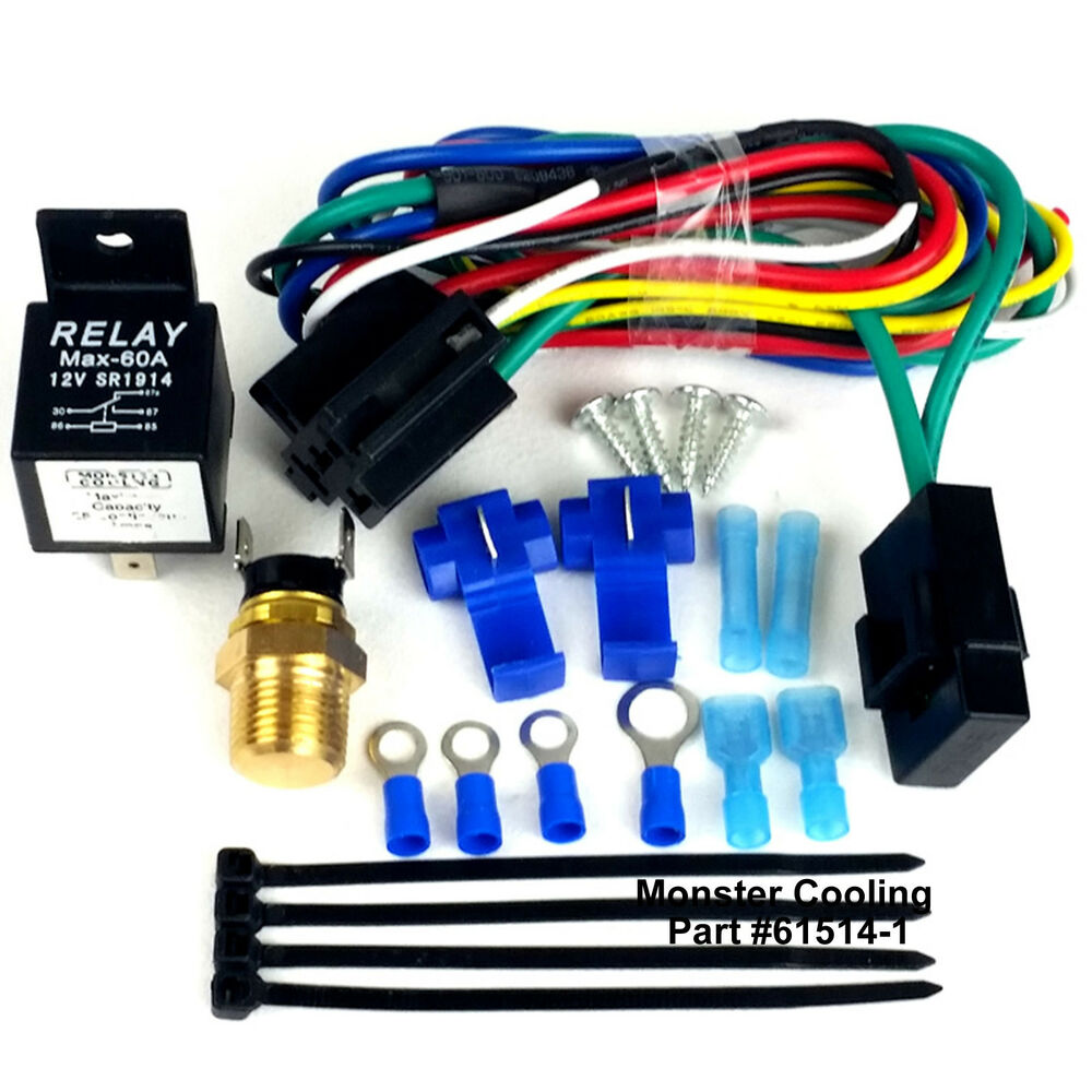 radiator fan wiring kit harness single or dual fan pre. Black Bedroom Furniture Sets. Home Design Ideas