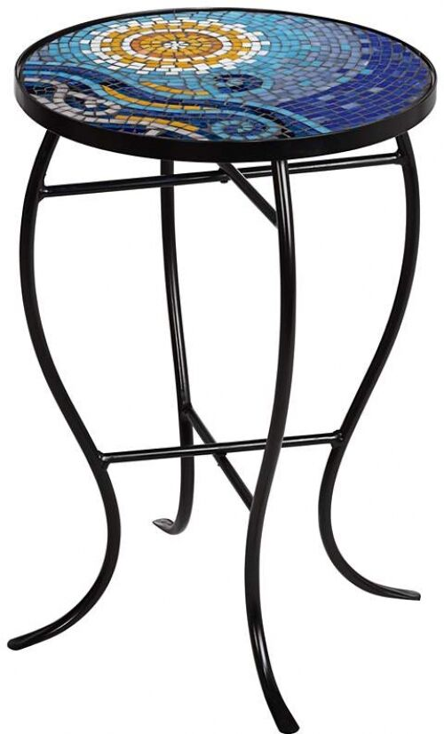 Accent Side Table Ocean Blue Mosaic Black Iron Outdoor