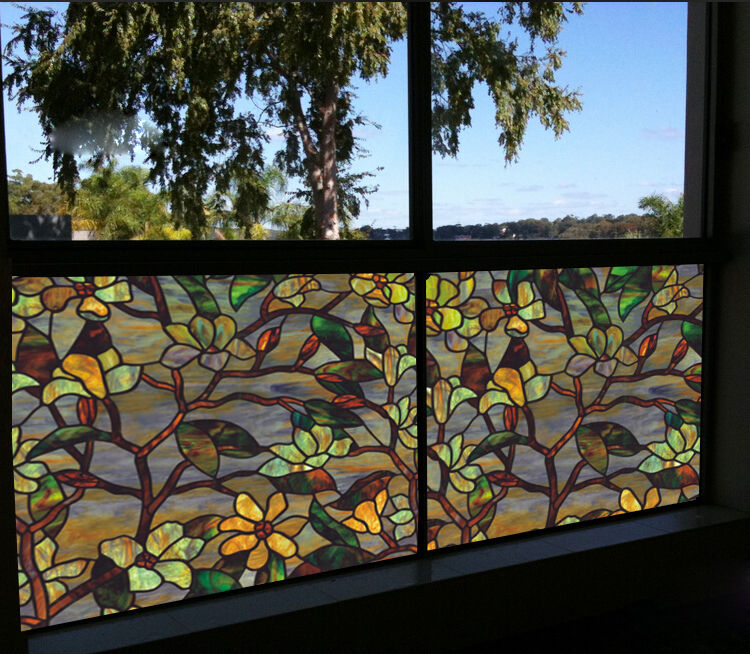 Privacy Static Cling Cover Stained Flower Window Glass
