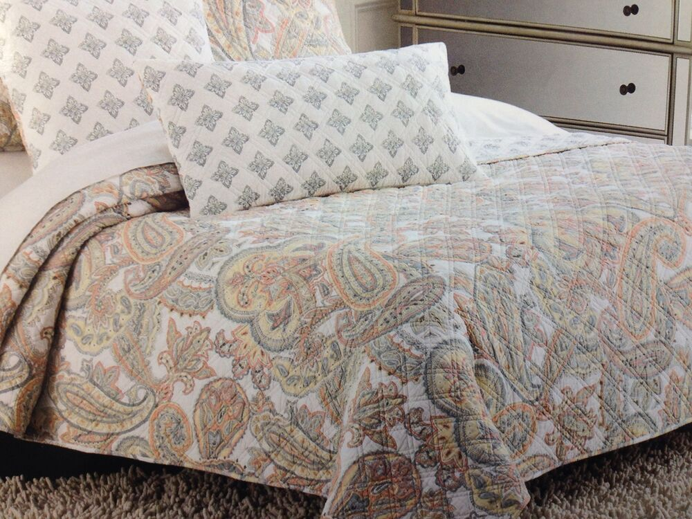 Cynthia rowley coral paisley floral full queen quilt set for Cynthia rowley bedding