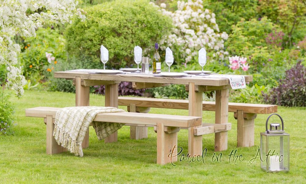 Elche Chunky Table Bench Solid Wood Outdoor Furniture Garden Dining Ebay