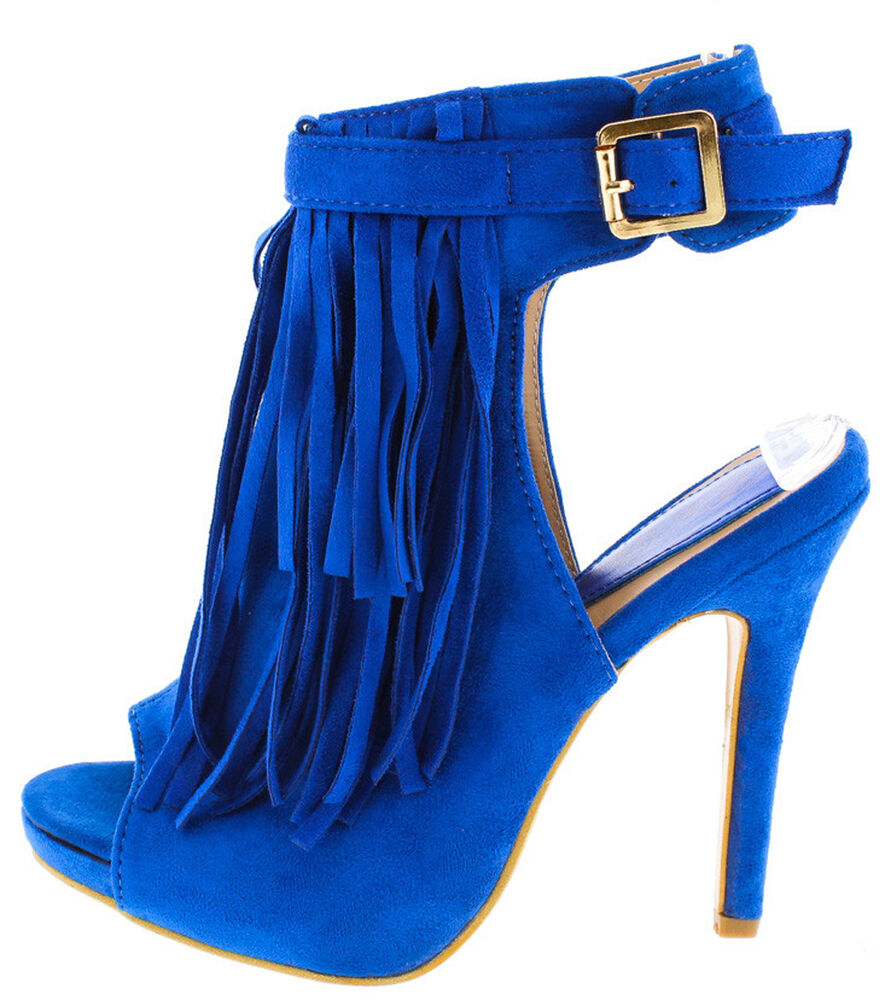 royal blue fringe buckled strap open toe ankle bootie