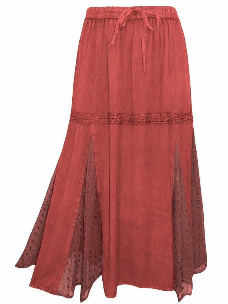 eaonplus burgundy renaissance embroidered lace maxi skirt