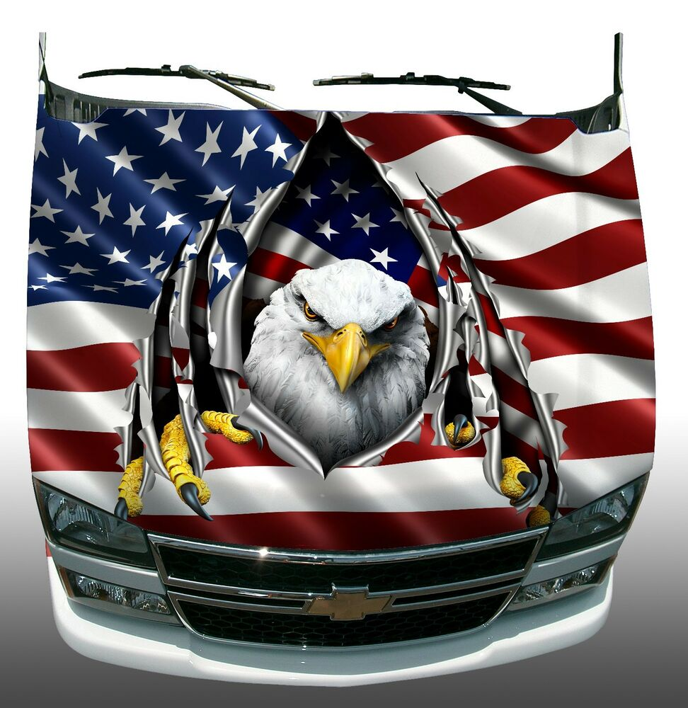 American Flag Eagle Rip Hood Wrap Wraps Sticker Vinyl