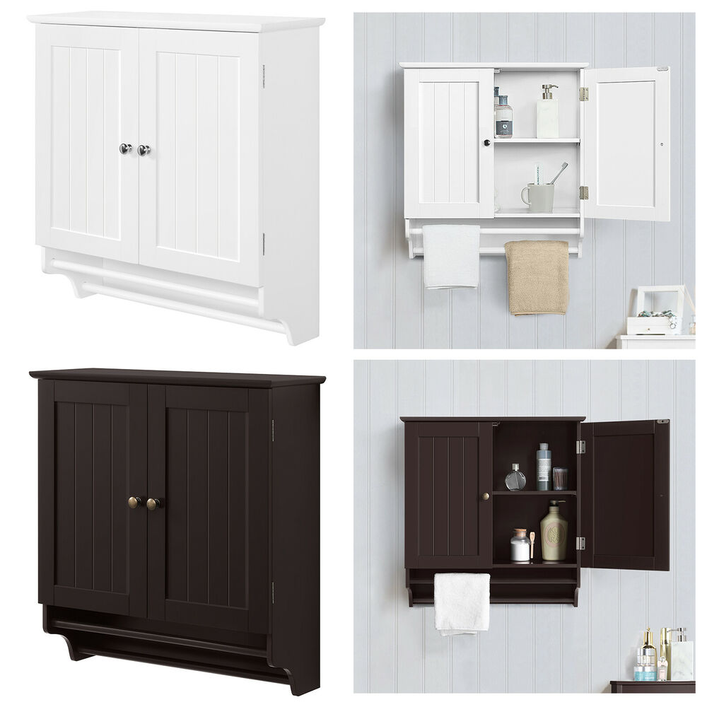 Bathroom Cabinet Storage Espresso Wall Mount Over Toilet Shelves With Towel Rack Ebay