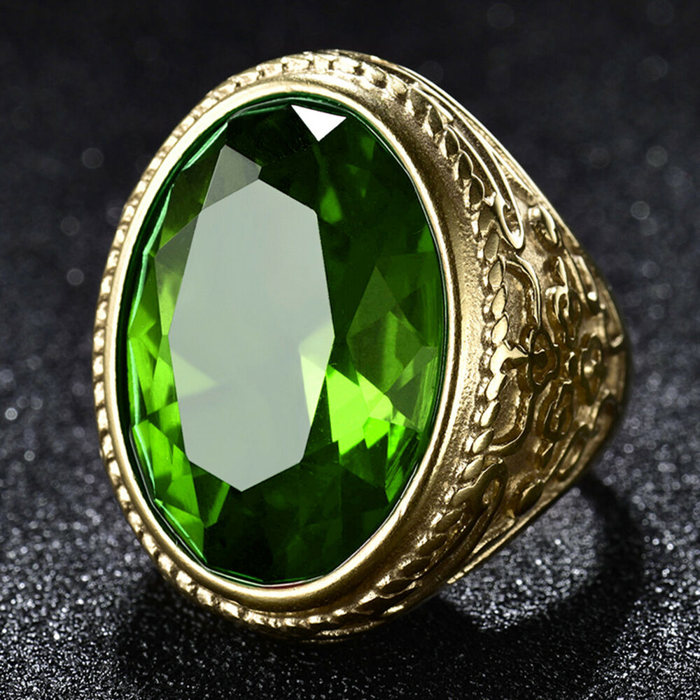 Gold Ring For Men With Green Red