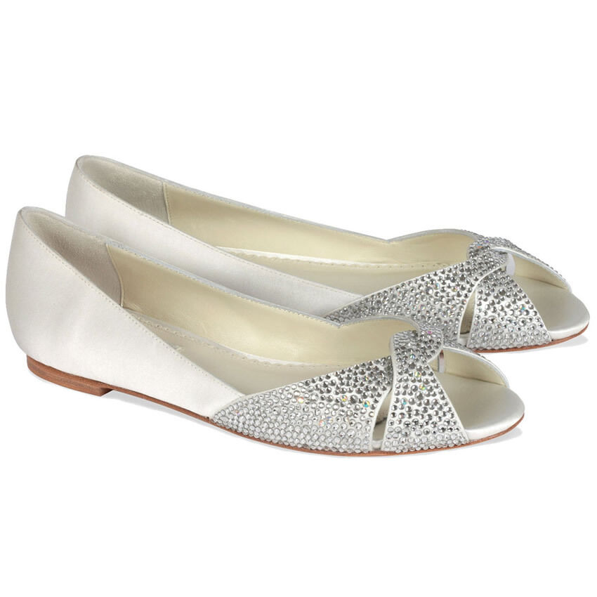 Benjamin Adams Andie Flat Crystal Peep Toe Wedding Shoes